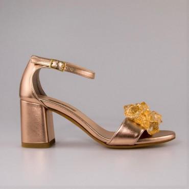 Sandalia cristales Oro Rosa Albano