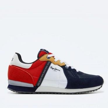 Sneaker Tinker Zero de Pepe Jeans en azul y rojo