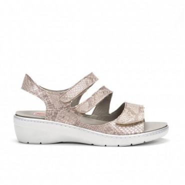Sandalia Fluchos Velcro Oro Rosa
