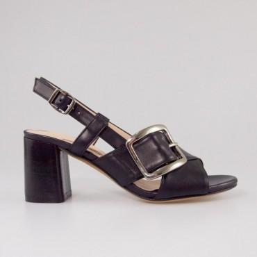Sandalia Negra Hebilla Albano